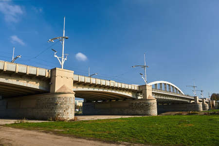 steel bridge over the Warta in the city of Poznan