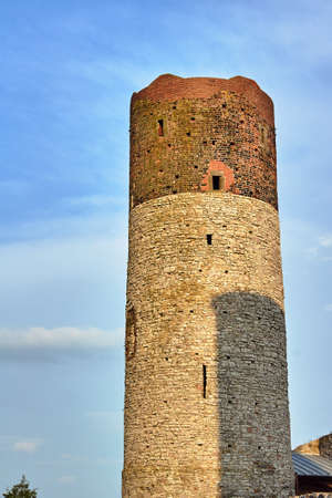 Stone tower of ruined medieval castle in Checiny, Poland