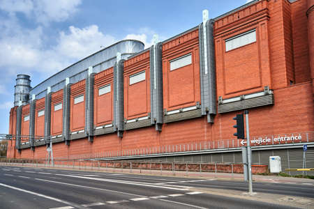 Facade of a renovated building of an old brewery in the city of Poznan,