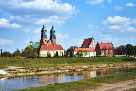 river Warta and the towers of historic cathedral in Poznan