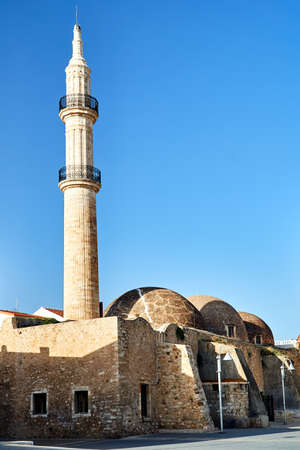 Turkish Minaret and Mosque in the city of Rethymnon on the island of Crete