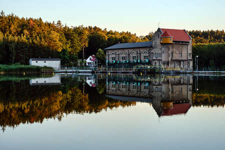 the reservoir and the building of a historic hydroelectric power plant in Bledzew in Poland Editorial