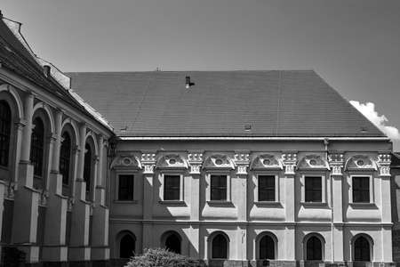 Baroque buildings of the former monastery in Poznan, monochrome 写真素材