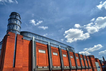 Facade of a renovated building of an old brewery in the city of Poznan Stock Photo
