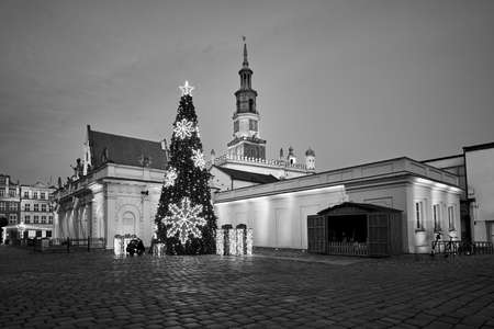 The Market Square with historic town hall and christmas decorations in city of Poznan
