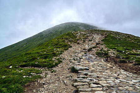 Stones on a tourist trail on a mountain slope in the Tatra Mountains in Poland Stock Photo