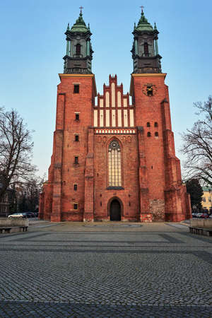 Gothic belfries of the historic cathedral in Poznan Stock Photo