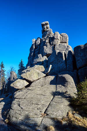Weathered granite rock in the Giant Mountains in Poland Stock Photo