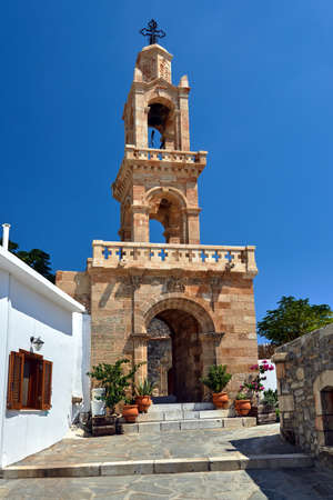 Tower of the Byzantine church in Asklipio on the island of Rhodes