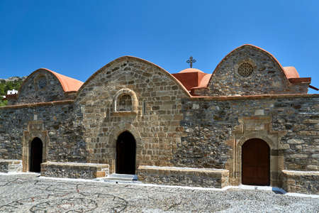 Stone, Orthodox, historic church in the city of Asklipio in Rhodes, Greece