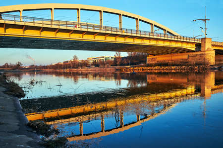 Steel structure of the bridge on the Warta River in Poznan Stock Photo