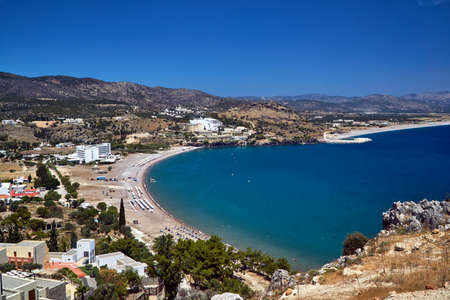 View of the bay with beaches and hotels on the island of Rhodes, Greece