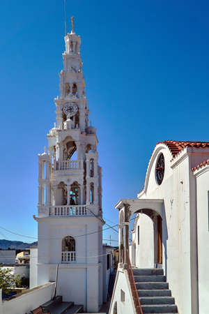 Bell Tower Orthodox Church on the island of Rhodes in Greece Stock Photo