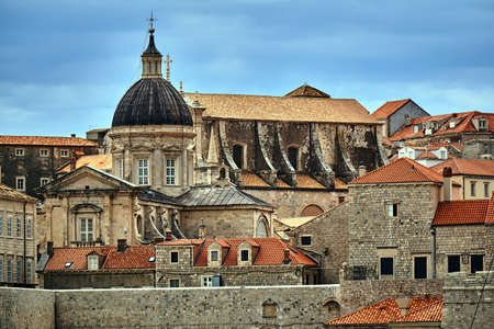 Churches, bell towers and roofs of houses in the city of Dubrovnik in Croatia
