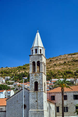 Tower of medieval church in the town of Dubrownik in Croatia
