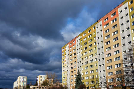 The facade with balconies of a residential high-rise buildings in Poznan Stock Photo