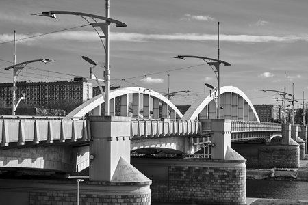 Steel structure of the bridge on the Warta River in Poznan, monochrome