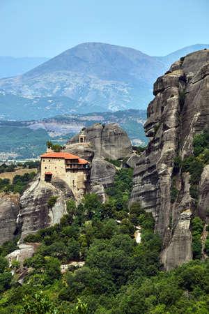 The Orthodox medieval monastery on top rock Meteora in Greece