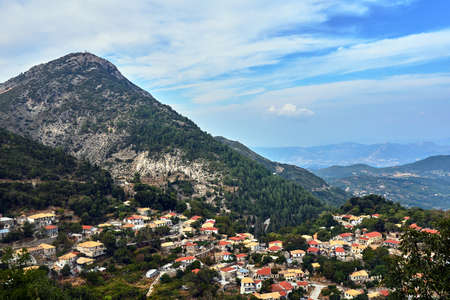 City Syvros on the mountainside on the island of Lefkada in Greece Stock Photo