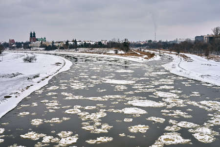 Floe on the Warta River during winter in Poznan