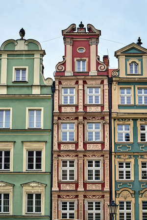 facades of historic tenements on the Market Square in Wroclaw Stock Photo