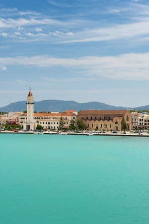View of the Zakynthos town and port from the sea, Greece. photo