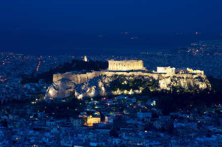 Night view of the Athens and Acropolis from Lykavittos hill, Athens photo