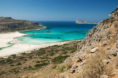 View of the famous Balos laggon from above, Crete island, Greece photo
