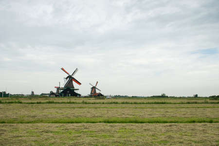 Traditional windmills and the field at the Zaanse Schans Stock Photo - 14319303