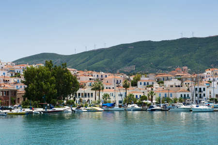 poros: View of the city and the yachts at the Poros island, Greece