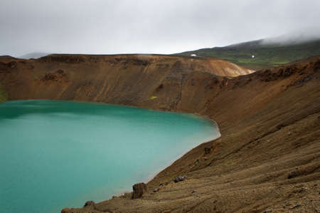 Lake with warm geothermal water inside of the famous Viti crater, Iceland