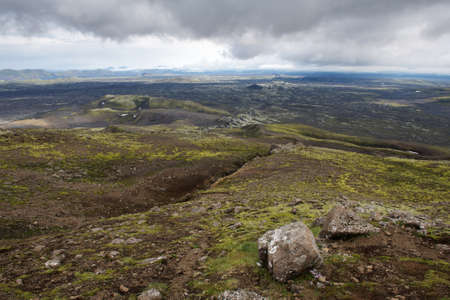 crater highlands: View of the line of eruption craters at Lakagigar, Iceland