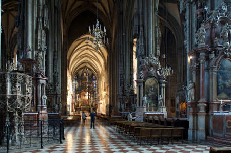 high altar: Tourists in Stephansdom, St. Stephens Cathedral in Vienna Austria