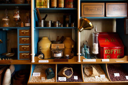Interior of vintage grocery store with retro goods on the shelves, the Netherlands Stok Fotoğraf - 27131826