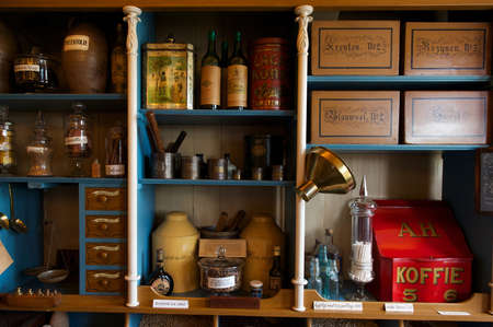 general store: Interior of vintage grocery store with retro goods on the shelves, Zaanse Schaans, the Netherlands