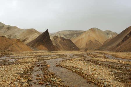 lifeless: Lifeless orange rocks and a river during the sand storm, Landmannalaugar, Iceland