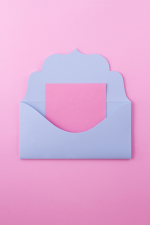 The blue envelope is a letter. The envelope is open and we see a pink note on which you can write any message, for example romantic.