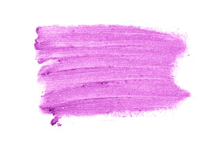 Bright purple smear lipstick in the form of a group of horizontal strokes, together making up a rectangle isolated on a white background.