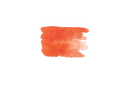 Trend photo on the theme of fashionable orange hue this season. Bright blurred smear of watercolor paint on a white paper background.