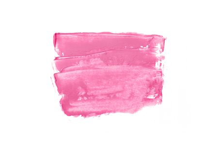 Bright pink and paint in the form of a group of horizontal strokes isolated on a white background.