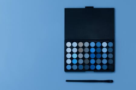 Photography on the theme of the trend color 2020. Professional multi-colored eye shadow palette on a light background with a brush for applying make-up. Reklamní fotografie