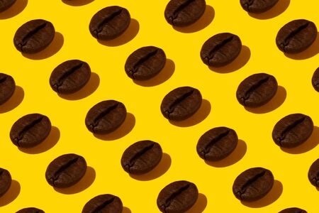 Creative bright collage of real macro photos of selected coffee beans on a yellow background.