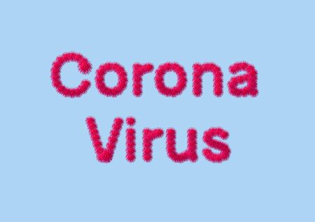 Creative composition with the image of a virion particle of a new coronovirus for the cover of an information article.
