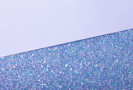 Holographic bright white glitter real texture background with rectangular sequins. 免版税图像