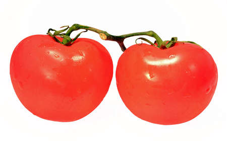 Closeup of tomatoes isolated on white