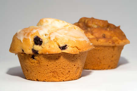 Two brown muffins Banco de Imagens