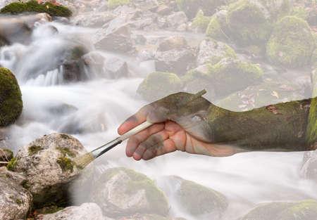 painting a creek Banco de Imagens