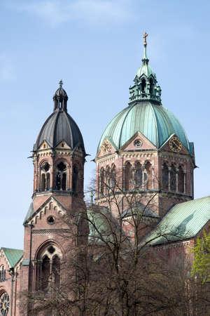 Famous church steeple in munich, germany.