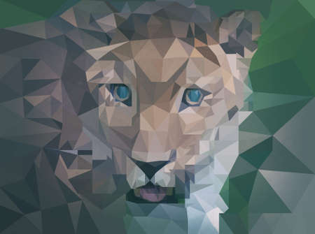 Abstract leopard as low poly wallpaper.