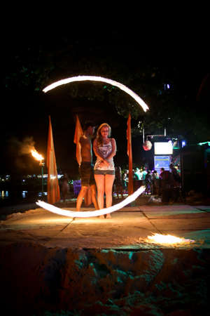 PHI PHI ISLAND, KRABI,THAILAND-MARCH 10,2020 : Amazing Fire Show at night on Phi Phi Island in Krabi Thailand. Editorial